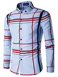 cheap -Men's Active Shirt - Striped Standing Collar