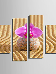 E-HOME Stretched Canvas Art Stones And Flowers Decoration Painting Set Of 4