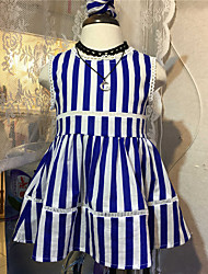 cheap -Girl's Daily Striped Dress, Cotton Summer Stripes Royal Blue