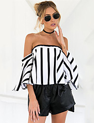 cheap -Women's Daily Going out Holiday Casual Sexy Street chic Summer Shirt,Striped Strapless Short Sleeves Polyester
