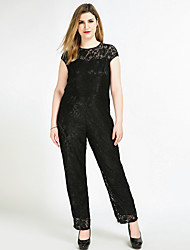 Really Love Women's High Rise Work Party Going out Casual/Daily Club Holiday Jumpsuits,Sexy Vintage Cute Straight Knitting Lace Solid All Seasons