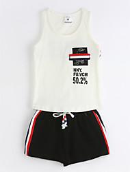 billige -Drenge Tøjsæt Daglig Ensfarvet Geometrisk, Bomuld Sommer Uden ærmer Hvid