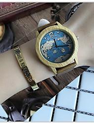 Недорогие -Жен. Повседневные часы Наручные часы Уникальный творческий часы Кварцевый Кожа Черный / Коричневый / Хаки Cool деревянный / Аналоговый Дамы На каждый день Карта для путешествий -