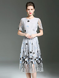 cheap -YHSP Women's Going out Beach Holiday Casual Sexy Sophisticated A Line Sheath Swing Dress,Embroidered Round Neck Midi Short Sleeves Polyester