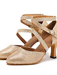 Women's Rhinestone Modern Dance Shoes Pointed Closed Toe Latin Ballroom Salsa Dancing Shoes Dancewear Gold/Silver