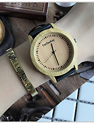 cheap -Men Bamboo Wood Watches Men and Women Quartz Clock Fashion Casual Leather Strap Wrist Watch Male Relogio