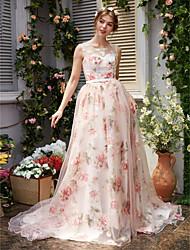 Linha A Decorado com Bijuteria Cauda Corte Organza Evento Formal Vestido com Miçangas Apliques Faixa / Fita de TS Couture®
