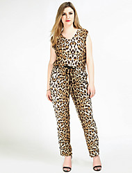 cheap -Women's Plus Size Vintage Jumpsuit - Leopard, Knitting Sexy V Neck