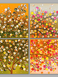 cheap -IARTS®Oil Paintings Set of 4 Thriving Color Tree Modern Wall Art For Home Decoration Hand Painted On Canvas Ready to Hang