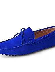 cheap -Men's Boat Shoes Spring Summer Fall Moccasin Suede Loafers Outdoor Office & Career Casual Flat Heel Burgundy Royal Blue Red Earth Yellow Navy Blue