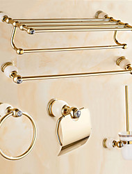 Bathroom Accessory Set / Gold Brass /Contemporary