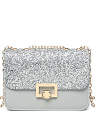Women Bags All Seasons PU Shoulder Bag Sequin for Wedding Event/Party Casual Sports Formal Outdoor Office & Career White Black Gray khaki