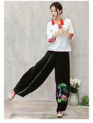 cheap -Women's Mid Rise Micro-elastic Wide Leg Chinos Pants,Boho Print Summer
