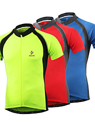 cheap -Arsuxeo Cycling Jersey Men's Short Sleeves Bike Jersey Top Bike Wear Quick Dry Front Zipper Soft Reflective Trim/Fluorescence Held-In