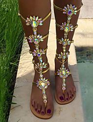 Women's Sandals Spring Summer Novelty PU Wedding Party & Evening Dress Flat Heel Rhinestone Flower