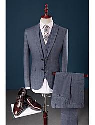 abordables -Bleu À carreaux Coupe Sur-Mesure 58% Wool42% viscose Costume - Cranté Droit 2 boutons