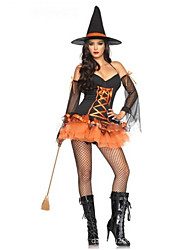 cheap -Witch Cosplay Costumes Female Halloween Carnival Festival / Holiday Halloween Costumes Black/Orange Solid Color