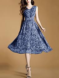 Women's Going out Beach Street chic Fashion Slim Thin Chiffon Swing Dress Print V Neck Midi Sleeveless Polyester Blue Summer Mid Rise
