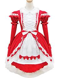 abordables -Doux Lolita Femme Tenue Cosplay Rouge Manches Courtes Courte / Mini