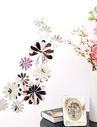 cheap -12Pcs Vinyl 3D Removable Decorative Silver Mirror Flowers Wall Stickers  For Kids Room  3D Art Wall Decals Home Decor