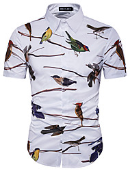 cheap -Men's Beach Club Casual Plus Size Cotton Slim Shirt - Bird, Print