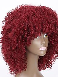 economico -Donna Parrucche sintetiche Medio Dritto Kinky liscia Rosso Parrucca riccia stile afro Parrucca naturale Parrucca di Halloween Parrucca di