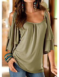 cheap -Women's Going out Loose T-shirt - Solid Colored