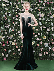 cheap -Mermaid / Trumpet Jewel Neck Floor Length Satin Tulle Velvet Formal Evening Dress with Crystal Detailing Tassel(s) by QZ