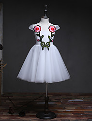 A-Line Knee Length Flower Girl Dress - Organza Short Sleeves Jewel Neck with Applique by likestar