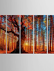 cheap -Giclee Print Landscape Classic Pastoral,Five Panels Canvas Vertical Print Wall Decor For Home Decoration