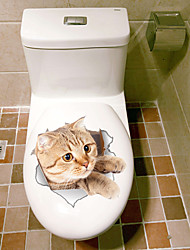 cheap -Animals Fashion Wall Stickers 3D Wall Stickers Decorative Wall Stickers Toilet Stickers, Vinyl Home Decoration Wall Decal Toilet Fridge