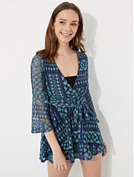 Women's Flare Sleeve Going out Vintage Sheath Dress,Print V Neck Above Knee Long Sleeve Flare Sleeve Polyester Blue Red Spring Summer High Rise