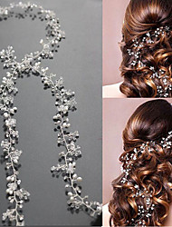 cheap -Pearl Crystal Headbands Headwear Head Chain Hair Tool with Floral 1pc Wedding Special Occasion Headpiece