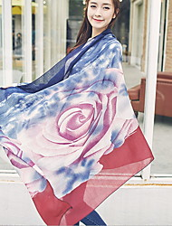 cheap -Korea Cotton Gradient Color Rose scarf shawl Thin Long Rectangle Print Women's
