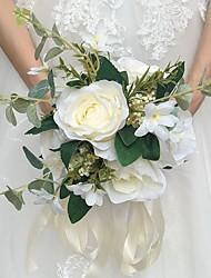 abordables -Fleurs de mariage Bouquets Mariage Satin Env.25cm 28cm