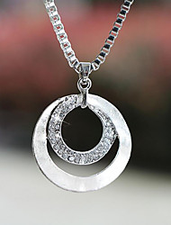 cheap -Women's Circle Basic Fashion Pendant Necklace Silver Plated Imitation Diamond Alloy Pendant Necklace , Wedding Party Gift Daily Casual