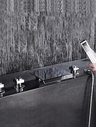 economico -Moderno A 3 fori Cascata Valvola in ceramica Tre maniglie cinque fori Cromo , Rubinetto vasca