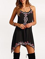 preiswerte -Damen Strand Ausgehen Hülle Kleid Geometrisch Übers Knie Schulterfrei Schwarz