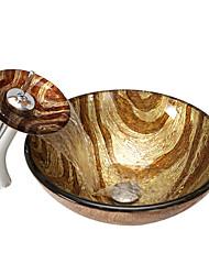 abordables -Antiguo Redondo material del disipador es Vidrio Templado Lavabo de Baño