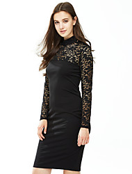 cheap -Women's Going out Sheath Lace Dress - Solid Colored Crew Neck