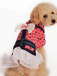 cheap -Dog Dress Dog Clothes Princess Yellow Pink Cotton Down Costume For Pets Women's Cute Casual/Daily Fashion