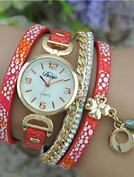 cheap -Women's Fashion Watch Bracelet Watch Quartz Leather Band Bangle Black White Blue Red Rose