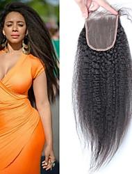 Недорогие -Средний / свободный / три части закрытие кружева бразильские кудрявые прямые волосы remy волосы коричневые французские кружева с