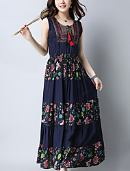 cheap -Women's Going out Beach Boho Street chic Chinoiserie Loose Swing Dress,Print Patchwork Embroidered Round Neck Maxi Sleeveless Cotton Linen