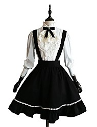 cheap -Classic Lolita Dress Women's / Girls' Skirt / Blouse / Shirt Cosplay Black Long Sleeve Knee Length