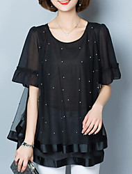 Women's Casual/Daily Simple Spring Fall Blouse,Solid Round Neck ½ Length Sleeve Polyester Sheer