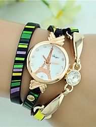 Недорогие -Жен. Модные часы Часы-браслет Кварцевый Кожа Черный Аналоговый Дамы Эйфелева башня - Светло-синий Желтый Зеленый