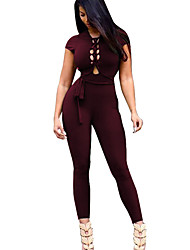 Women's Backless Round Neck High Rise Sports Casual Active Skinny Cut Out Solid Summer Sexy Jumpsuits