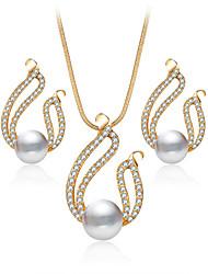 cheap -Women's Jewelry Set Necklace/Earrings Bridal Jewelry Sets Crystal Imitation Pearl Rhinestone Luxury Dangling Style Pendant Rhinestone