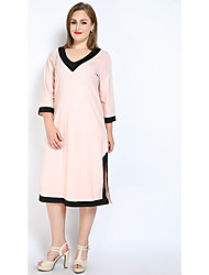 cheap -Really Love Women's Party Daily Plus Size Cute Casual Sexy Loose Shift T Shirt Dress,Color Block V Neck Midi Cotton Polyester All Seasons Mid Rise